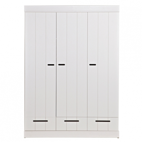 Szafa CONNECT standard, trzydrzwiowa z szufladami, drążkiem i półkami, biała