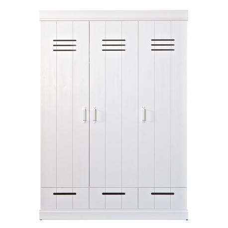 Szafa CONNECT, trzydrzwiowa z szufladami, standard, biała - Woood