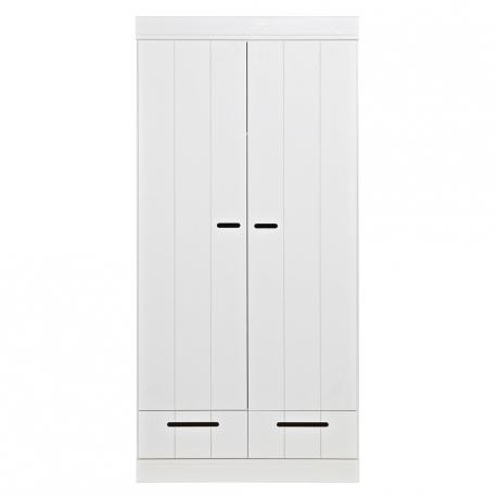 Szafa CONNECT, dwudrzwiowa z szufladami, drążkiem i półkami, biała