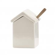 Cukierniczka ceramiczna z drewnianą łyżeczką