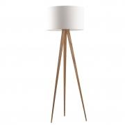 Lampa podłogowa TRIPOD WOOD biała drewniana