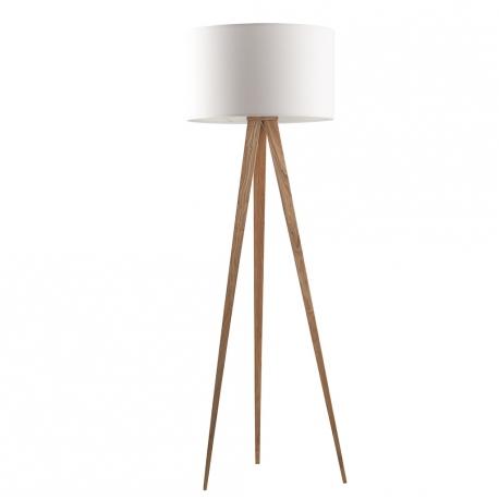 Lampa podłogowa TRIPOD WOOD biała drewniana - Zuiver