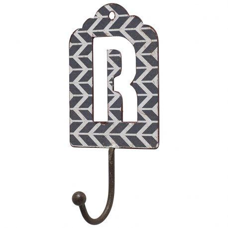 Wieszak metalowy, litera R