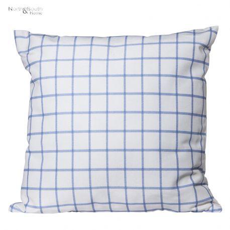Poduszka biało-niebieska krata
