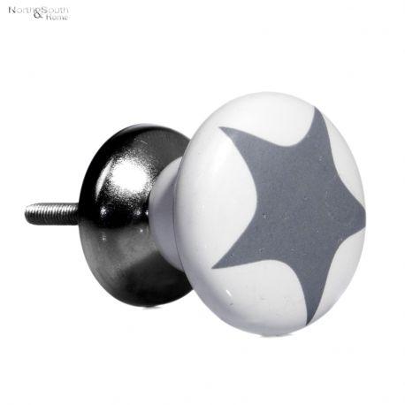 Gałka ceramiczna z szarą gwiazdką