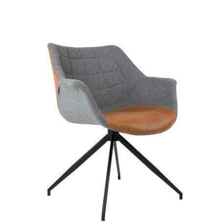 Fotel DOULTON vintage, szaro-brązowy - Zuiver