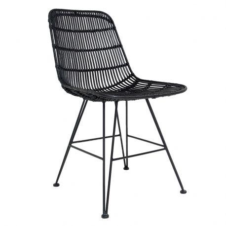 Krzesło rattanowe, czarne - HK living