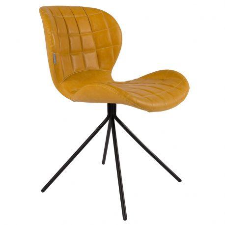 Krzesło OMG,  skórzane żółte