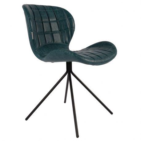 Krzesło OMG,  skórzane granatowe - Zuiver