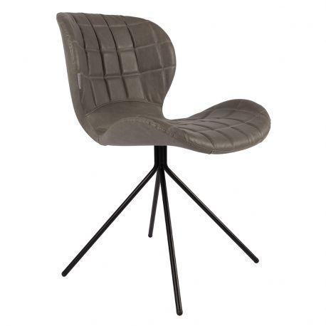 Krzesło OMG,  skórzane szare