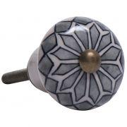 Gałka do mebli ceramiczna, szary wzór