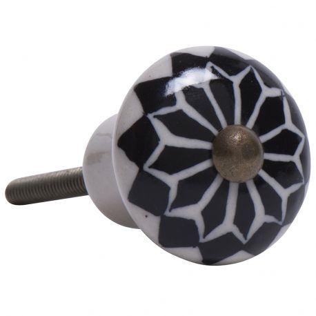 Gałka do mebli ceramiczna, czarny wzór