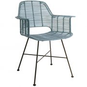 Krzesło rattanowe TUB, niebieskie