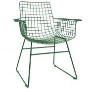 Fotel metalowy WIRE, kolor zielony