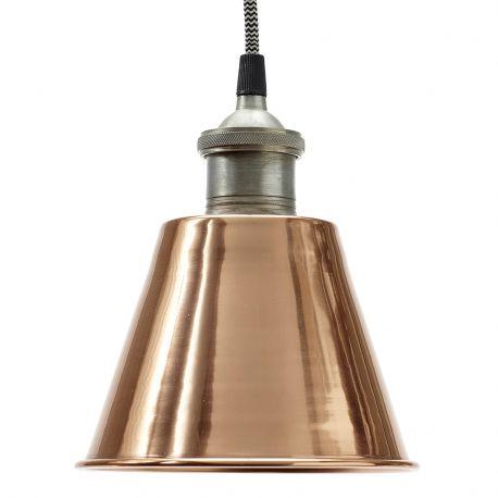 Lampa metalowa, miedziano- srebrna