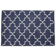 Dywan bawełniany, tkany, kolor niebieski, 122x186 cm