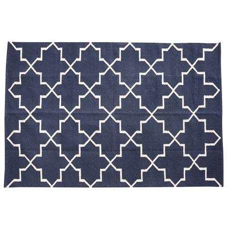 Dywan bawełniany, tkany, kolor niebieski, 120x180 cm - Hübsch