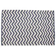 Dywan bawełniany, tkany, kolor kremowo-niebieski, 122x183 cm