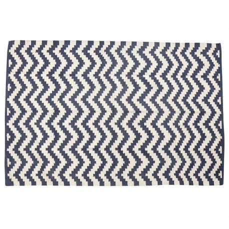 Dywan bawełniany, tkany, kolor kremowo-niebieski, 120x180 cm
