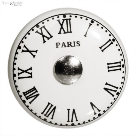 Gałka porcelanowa CARINE w kształcie zegara