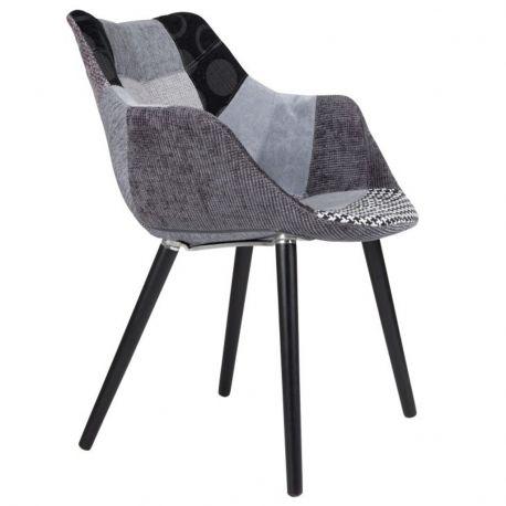 Krzesło TWELVE patchwork, szare - Zuiver