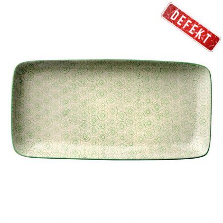 Talerz ceramiczny prostokątny seria ISABELLA, zielony wzór, DEFEKT