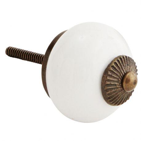 Gałka do mebli porcelanowa w kolorze białym