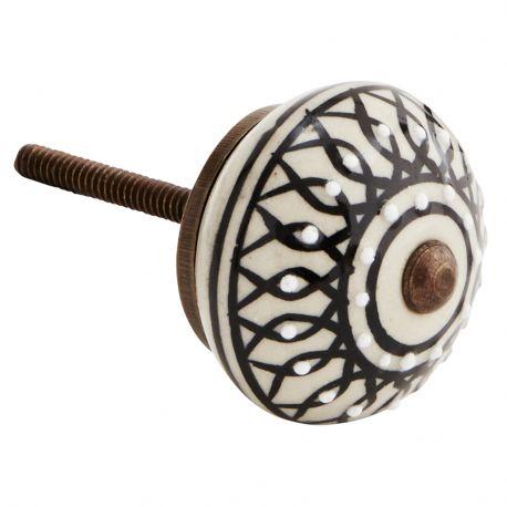 Gałka do mebli porcelanowa w kolorze czarno- białym - Madam Stoltz