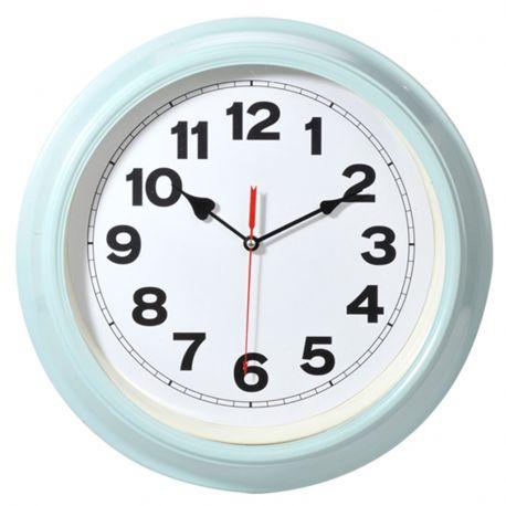 Zegar metalowy w kolorze błękitnym