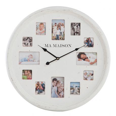 Zegar biały z ramkami na zdjęcia, rozmiar S