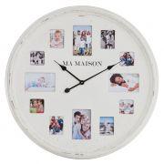 Zegar biały z ramkami na zdjęcia, rozmiar L