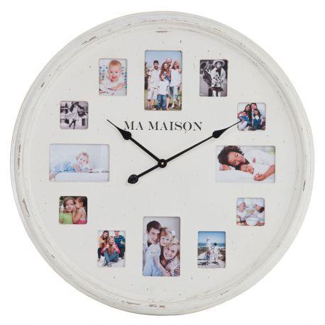 Zegar biały z ramkami na zdjęcia, rozmiar M
