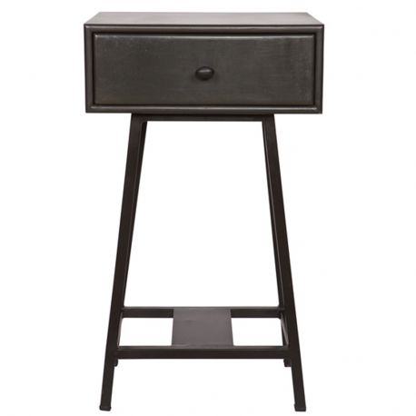 Stolik z szufladą SKYBOX metalowy, czarny - Be Pure