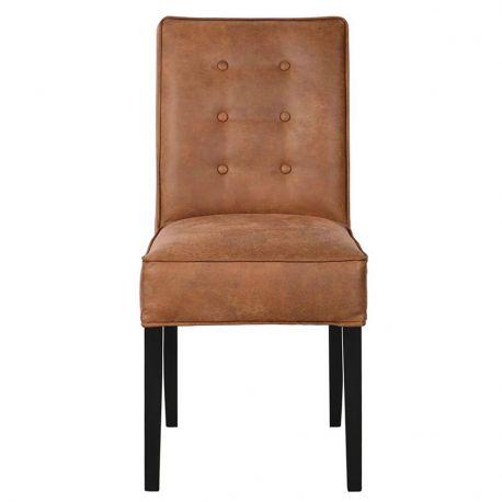 Krzesło FLEUR brązowe z guzikami