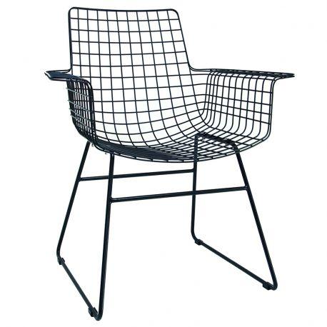 Fotel metalowy WIRE, kolor czarny - HK living