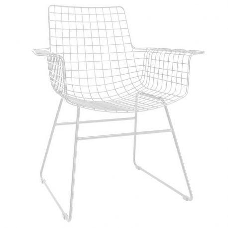 Fotel metalowy WIRE, kolor biały