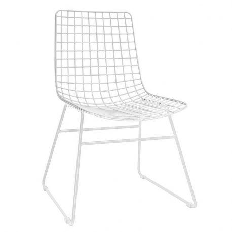 Krzesło metalowe WIRE, kolor biały