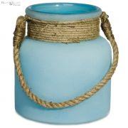 Lampion HYERES z jutowym sznurem, niebieski