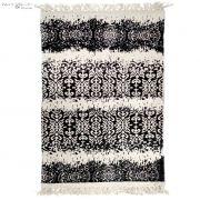 Dywan  z wzorem, czarno - kremowy