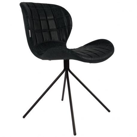 Krzesło OMG,  skórzane czarne - Zuiver