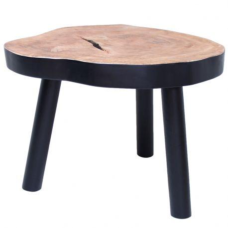 Stołek, stolik w kształcie pnia drewna czarny - HK living