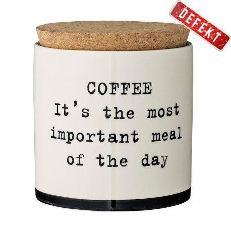 Pojemnik ceramiczny z pokrywką COFFE IT'S THE MOST IMPORTANT MEAL OF THE DAY - DEFEKT