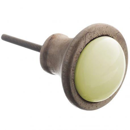 Gałka drewniano- ceramiczna, żóła - Madam Stoltz