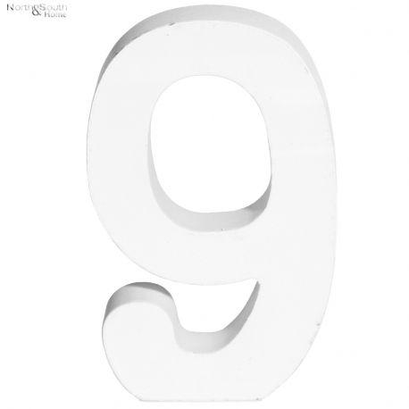 Cyfra 9 biała