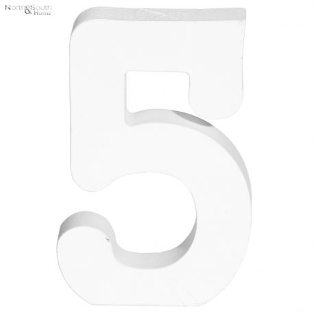 Cyfra 5 biała