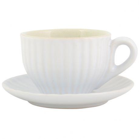 Filiżanka Espresso ze spodek MYNTE, biała  - Ib Laursen
