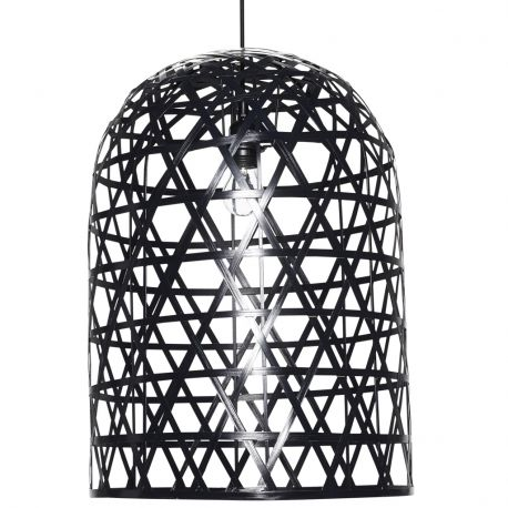 Lampa wisząca BAMBOO, rattanowa, czarna