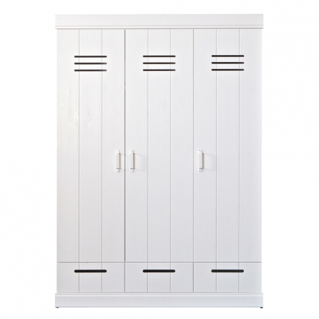 Szafa CONNECT, trzydrzwiowa z szufladami, dodatkowe wyposażenie, biała - Woood