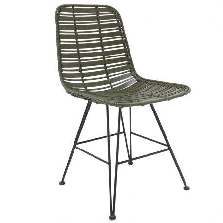 Krzesło HOKAIDO, rattanowe, oliwkowe - HK living