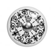Gałka do mebli porcelanowa w kolorze czarno- białym